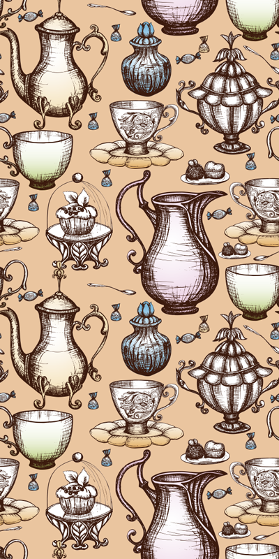 TenStickers. Tea pot collection fridge wrap. Buy our best quality vinyl fridge wrap decal with the design of tea pots collection of classical ornamental appearance. Easy to apply.