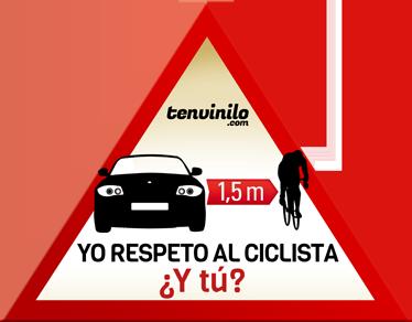 TenVinilo. Pegatina respeto al ciclista. Si eres un respetuoso conductor de coche y mantienes la distancia de seguridad con los ciclistas que circulan por la carretera, házselo saber a los demás con este adhesivo de advertencia.