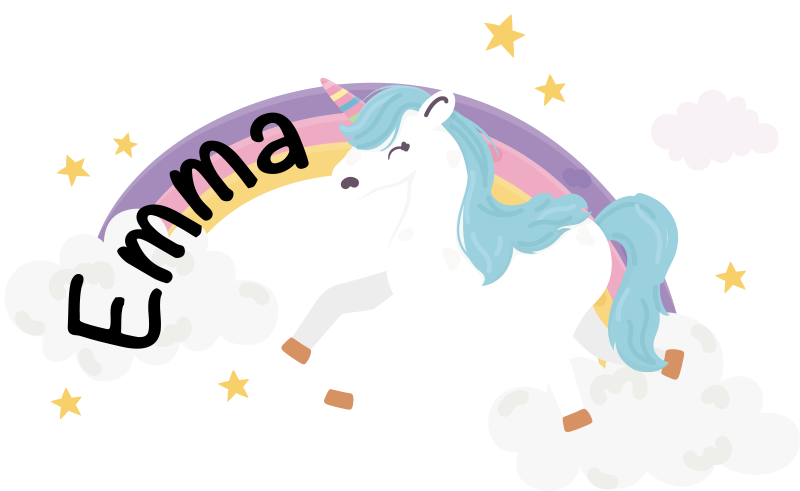 TenStickers. Customizable unicorn rainbow illustration sticker. Personalizable name wall art sticker for kids with the design of a unicorn. Buy it in the name that you want on it to peronalised the room of  a kid.