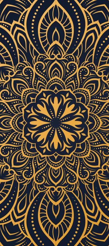 TenStickers. Golden mandala glass door sticker. Decorative door sticker designed with the print of mandala in rich golden background. It is customisable to fit any door size.