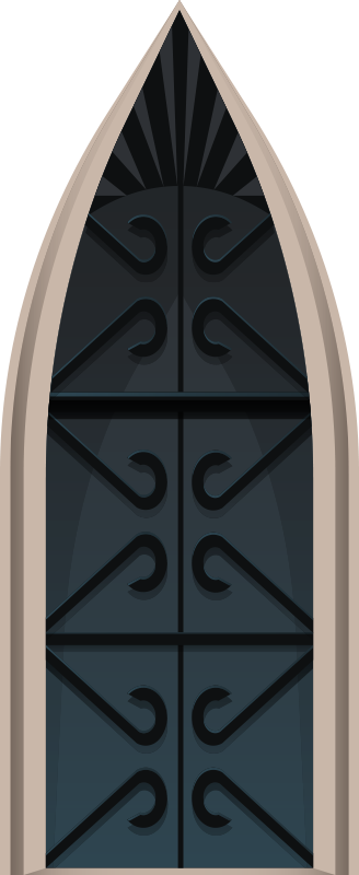 TenStickers. Medieval castle glass door sticker. Decorative door sticker vinyl with the design of a medieval castle. It is customisable to size any space to apply the design.