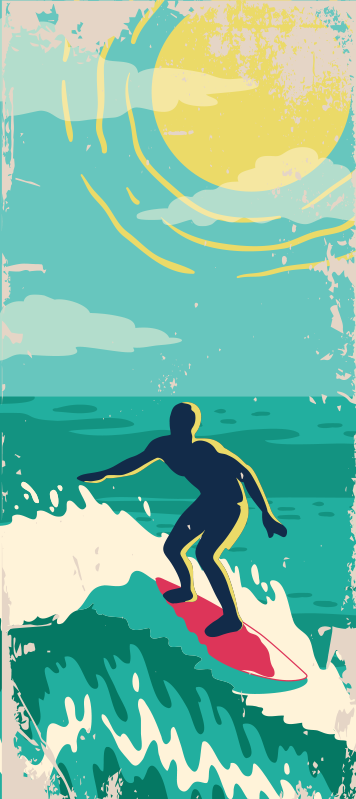 TenStickers. Retro sun glass door sticker. Decorative door sticker of a surfer on the sea with the sun in it bright yellow colour. Choose the size that best fit the door space to apply it.