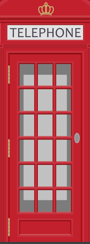 TenStickers. Telephone box glass door sticker. Decorative door sticker for telephone box . Choose it in the size that is preferable for the space to apply it. Easy to apply on any flat space.