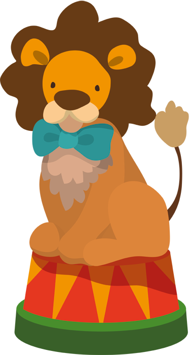 TenStickers. Circus Lion Wall Sticker. Kids Wall Stickers -Playful illustration of a lion with a bow tie. Colourful design ideal for decorating areas for kids.