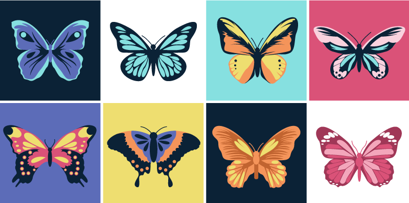 TenStickers. Butterfly set tile transfer. Decorate the wall surface of the home with our beautiful sets of tiles with multicolored butterflies on it. Buy it in the size measurement you want.