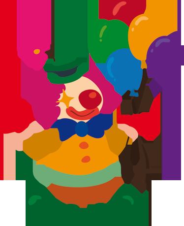 TenStickers. Adesivo bambini collezione circo 7. Un sorridente pagliaccio con il caratteristico nasone rosso mentre regge dei palloncini colorati. Sticker decorativo ricco di colori.
