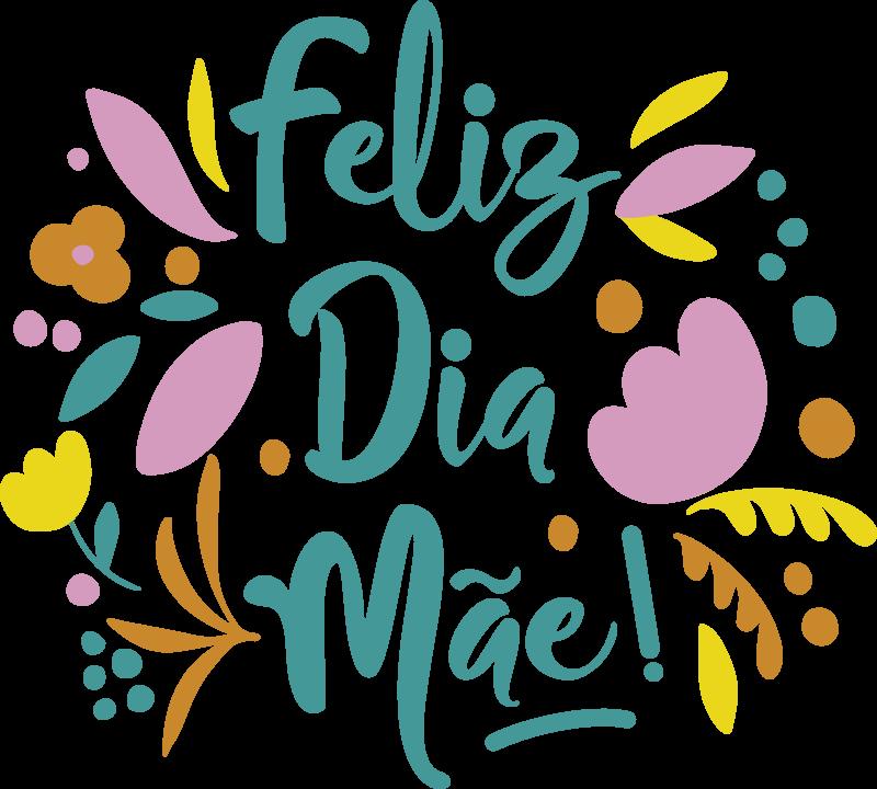 """TenStickers. Vinil decorativo para montras flores feliz Dia da Mãe!. Autocolante para montras flores feliz Dia da Mãe com o texto """"Feliz Dia da Mãe"""" com flores coloridas e outras características. Destaque a sua loja das restantes!"""