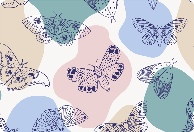 TenStickers. Abstract pattern and butterflies laptop skin. Decorative laptop vinyl sticker with multi coloured butterflies and abstract background in colours. Buy it in the size that fits your laptop.