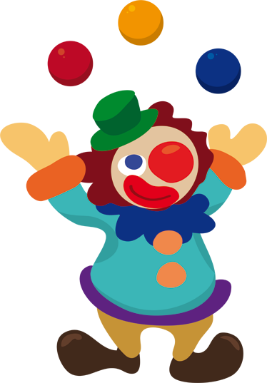 TenStickers. Juggling Clown Sticker. Colourful decal illustrating a happy clown juggling. A superb sticker to decorate the room of the little ones at home!