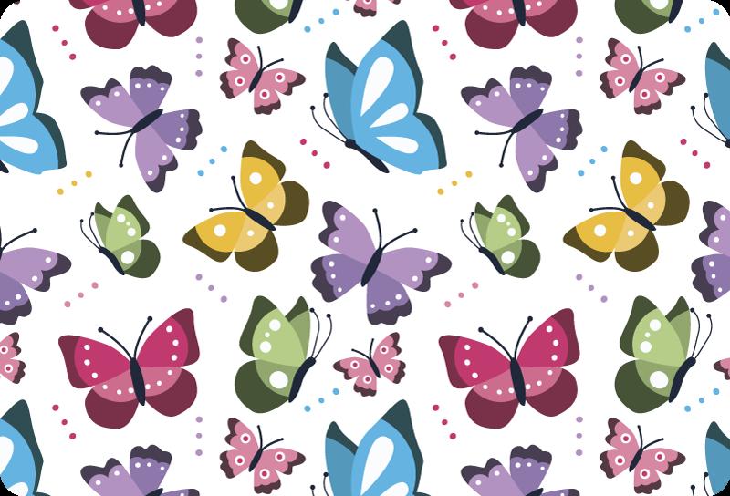 TenStickers. Kleurrijke vlinders zelfklevende laptopsticker. Versier met onze kleurrijke laptopsticker met vlinders om het hele oppervlak van de laptop te omhullen. Kies de maat die perfect bij uw toestel past.