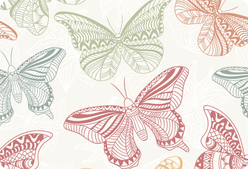 TenStickers. Colors ornamental butterflies laptop skin decal. Buy our colorful butterflies laptop sticker to decorate the surface  of a laptop to make it standout anywhere. It comes in customisable size options.