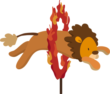 TenStickers. Circus Fire Lion Wall Sticker. Kids Wall Stickers-Playful illustration of a lion jumping through a ring of fire. Colourful design ideal for decorating areas for kids