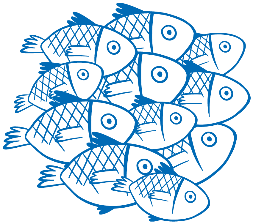 TenStickers. Fish laptop skin. Beautiful vinyl laptop sticker with the design of fishes on to bring a touch of freshness on a laptop. Buy it in the size of preference.