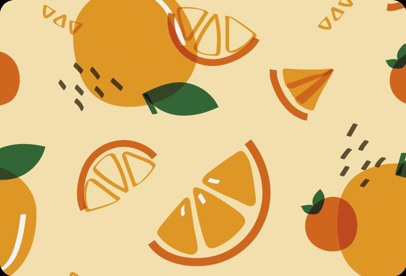 TenStickers. 멤피스 노트북 스킨과 오렌지. 멤피스 스타일의 오렌지 디자인 장식 노트북 비닐 스티커. 가지고있는 랩톱의 크기에 맞는 크기를 선택하십시오.