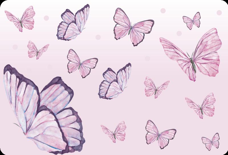 TENSTICKERS. 紫色の蝶のラップトップの皮膚. 全体を包む紫色の蝶のデザインの美しい装飾的なラップトップスキンステッカー。ぴったりのサイズをお選びください。