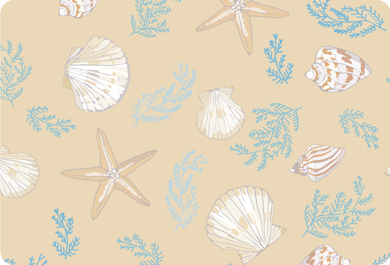 TenStickers. Sea shell laptop skin. Easy to apply decorative laptop sticker with the design of sea shells to wrap the whole surface in grand style. Buy it in the preferred size.