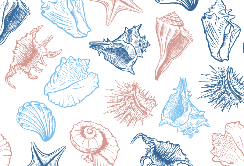 TenStickers. Seashells pattern laptop skin. Decorative vinyl laptop sticker with the design of seashell in amazing colour appearance to wrap the whole surface of a laptop.