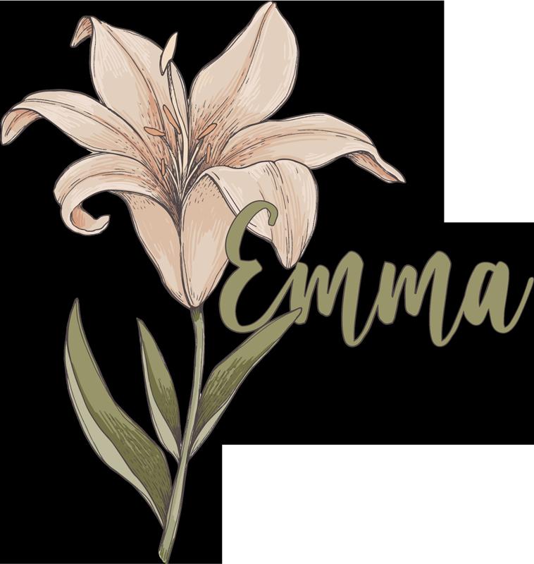 TenStickers. Autocollant personnalisé belle fleur de botanique. Stickers muraux fleurs nom personnalisable pour décorer toute surface plane. Choisissez-le dans la taille désirée et donnez le nom du design.