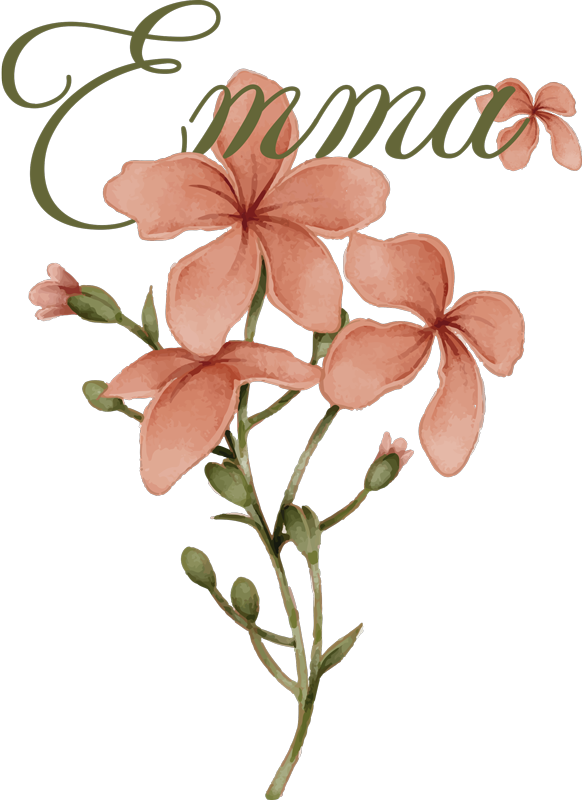 TenStickers. Beautiful flower with name Custom Sticker. Personalisable home wall sticker with the design of a flower. Provide a name for the product and the recommended size that fits where to apply it.