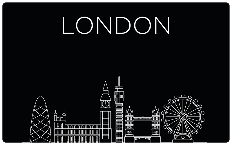 TenStickers. London on Laptop laptop skin decal. London city structure laptop vinyl stickerto decorate any laptop. Buy it in the size that is best for you. Easy to apply.