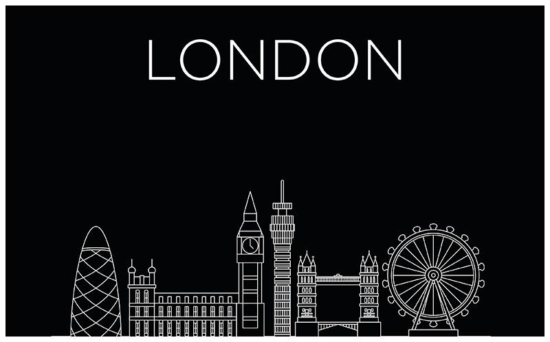 TENSTICKERS. ラップトップ上のロンドン. ロンドンの都市構造のラップトップのビニールステッカー。あなたに最適なサイズで購入してください。簡単に適用できます。