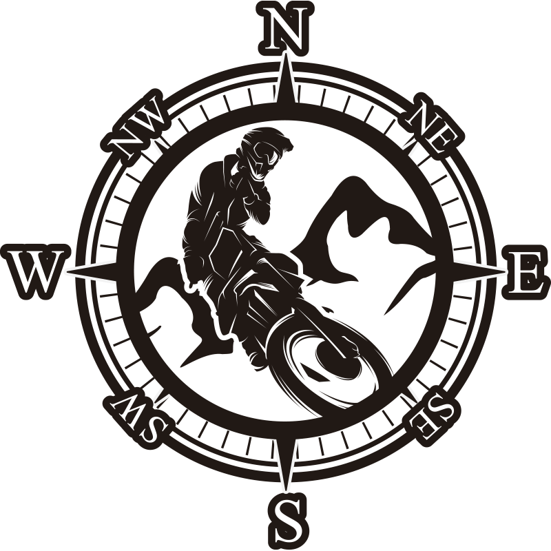 TenStickers. Bike rider compass Motorcycle stickers. Decorative vinyl motorcycle vinyl decal with the design of a biker riding around a compass with navigation. Available in different sizes.