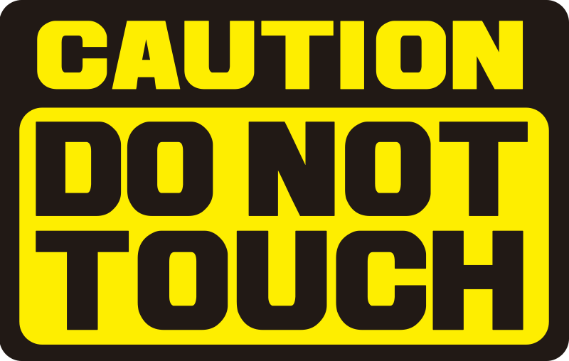 TenStickers. Caution do not touch Motorcycle stickers. Caution iconic motorcycle sticker design with the inscription on it that says '' Caution do not touch ''.  Choose it in the size that you prefer.