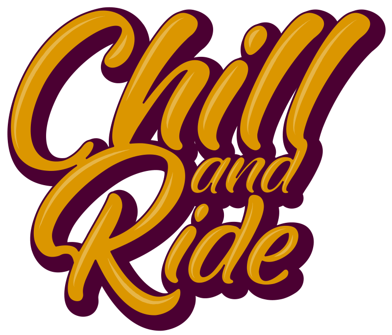 TenStickers. Chill and Ride Motorcycle stickers. Decorative motorcycle sticker designed to create riding inspiration . It has an inscription on it that says '' Chill and ride''.