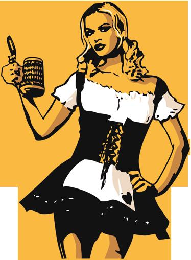 TenStickers. Sticker serveuse bière allemande. Adhésif mural représentant une serveuse apportant une pinte de bière fraîche.Choisissez ce stickers pour décorer votre bar ou bistrot.