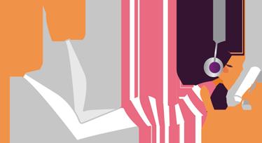 TenVinilo. Vinilo decorativo chica escuchando música. Adhesivo de una joven vestida con pantalones blancos y camiseta de rallas, escuchando a través de sus cascos música actual mientras lee un estupendo libro.