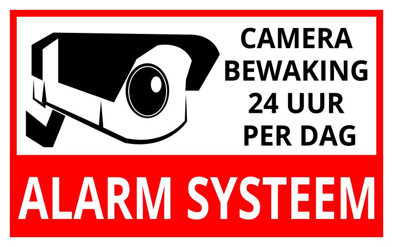TenStickers. Alarmsysteem teken zelfklevende sticker. Een bewegwijzering vinyl zelfklevende sticker met het ontwerp van een camera en tekst het is een ontwerp om veiligheid in een gebied te creëren. Eenvoudig aan te brengen.