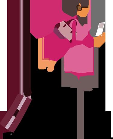 TenStickers. Sticker mural femme valise. Stickers représentant une femme moderne avec sa valisette.Sélectionnez les dimensions de votre choix pour personnaliser le stickers à votre convenance.