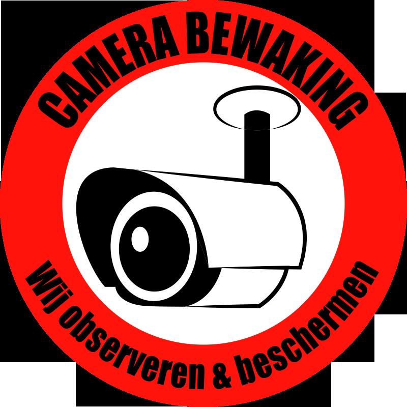 TenStickers. Cameratoezicht observatie teken zelfklevende sticker. Camerabewaking bord zelfklevende sticker ontworpen op een rond oppervlak met tekst. Kies het in elke gewenste maat. Gemakkelijk aan te brengen op vlakke oppervlakken.