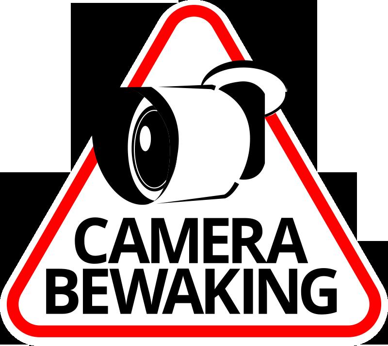 TenStickers. Cameratoezicht teken zelfklevende sticker. Iconische vinyl signage zelfklevende sticker met het ontwerp van een beveiligingscamera met tekst. Koop het in de beste maatopties, ideaal om op elk vlak oppervlak aan te brengen.