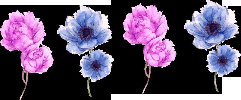 TenStickers. Bloemen bloem muursticker. Decoratieve muursticker met het ontwerp van mooie veelkleurige bloemen. Koop het in elke gewenste maat uit de beschikbare opties.