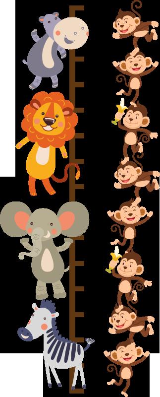 TENSTICKERS. 動物の高さチャートステッカー付きメーター. ジャングルの動物のデザインが描かれた子供向けの装飾的な高さチャートウォールステッカー。サーフェスに適したサイズで選択してください。