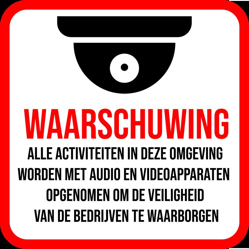 TenStickers. Waarschuwingsbord zelfklevende sticker. Waarschuwingsbord vinyl zelfklevende sticker gemaakt met de print van een beveiligingscamera en waarschuwingsbericht. Koop het in elke maat die het beste is voor een ruimte.