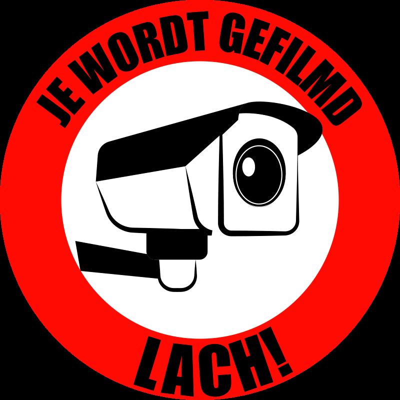 TenStickers. U wordt op video opgenomen - zelfklevende sticker met smile-teken. Iconische bewegwijzering met videocamera om op elk vlak oppervlak aan te brengen als veiligheidswaarschuwing. Kopen. Het in elke maat die het beste is voor een gewenste ruimte.
