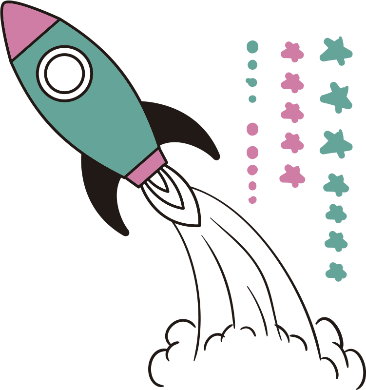 TenStickers. Rocket space sticker. Rocket space children's bedroom wall sticker with the design of a rocket and space elements in pretty colours. Choose the preferred size.