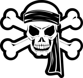TenStickers. 海盗万圣节墙贴. 用海盗头骨的这个令人惊异的怪异万圣节墙贴花为万圣节准备房子!提供50种不同颜色。
