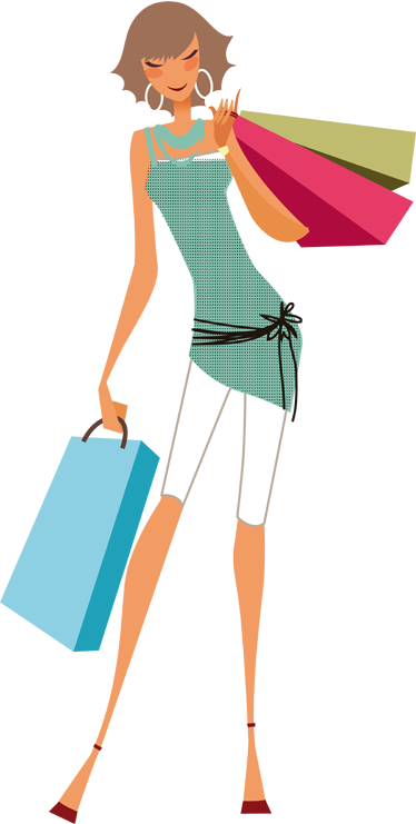 TenStickers. Lady with Shopping Bags Sticker. Sticker illustrating a young elegant woman with her shopping bags. Superb decal to decorate your office or shop front window.