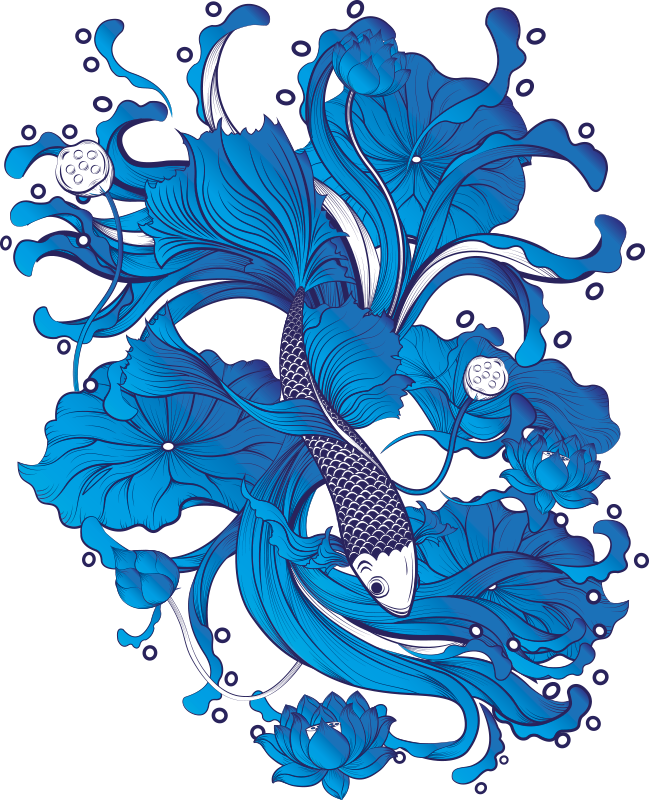 TenStickers. Blue artistic fish  fish wall decal. Colorful home wall art decal with a fish design incorporated with an ornamental flower. An ideal decoration for home space. Easy to apply.