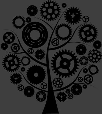 TenStickers. Sticker boom tandwielen. Een mooie muursticker van een ronde boom vormgegeven door verscheidene soorten van tandwielen. u kunt uw wanden op een originele manier decoreren.