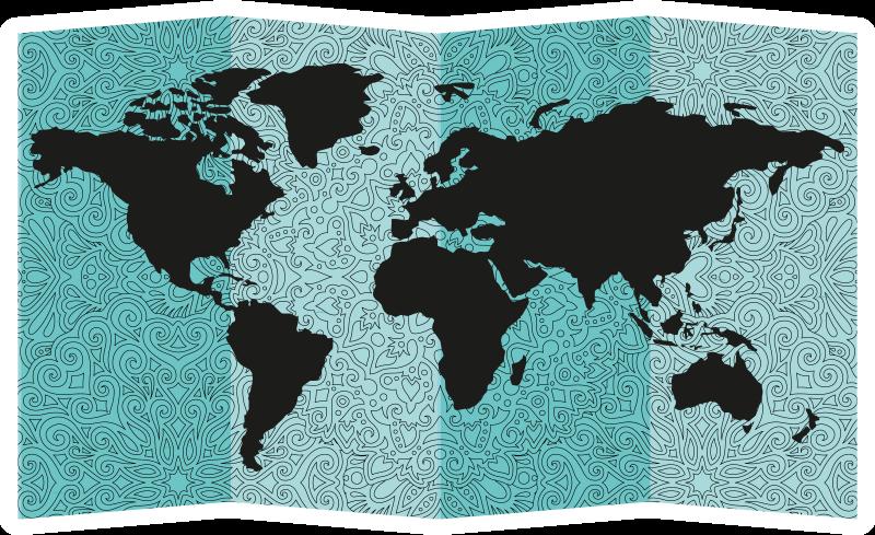 TENSTICKERS. マンダラ世界地図世界地図ステッカー. マンダラプリントの背景に世界地図の装飾的な家の壁のステッカーデザイン。スペースに最適なサイズでお選びください。