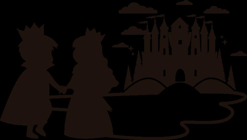 TENSTICKERS. 王子と王女の子供のおとぎ話の壁のステッカー. 王子と王女のデザインの子供用壁アートビニールステッカー。子供の寝室のスペースのための妖精の背の高い装飾のアイデア。