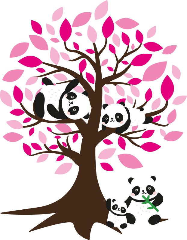 TenStickers. Tree with panda kids tree wall decal. Home wall art decal with the design of a tree with branches and flowers. An ideal decoration for kids bedroom space. Choose it in a desirable size.