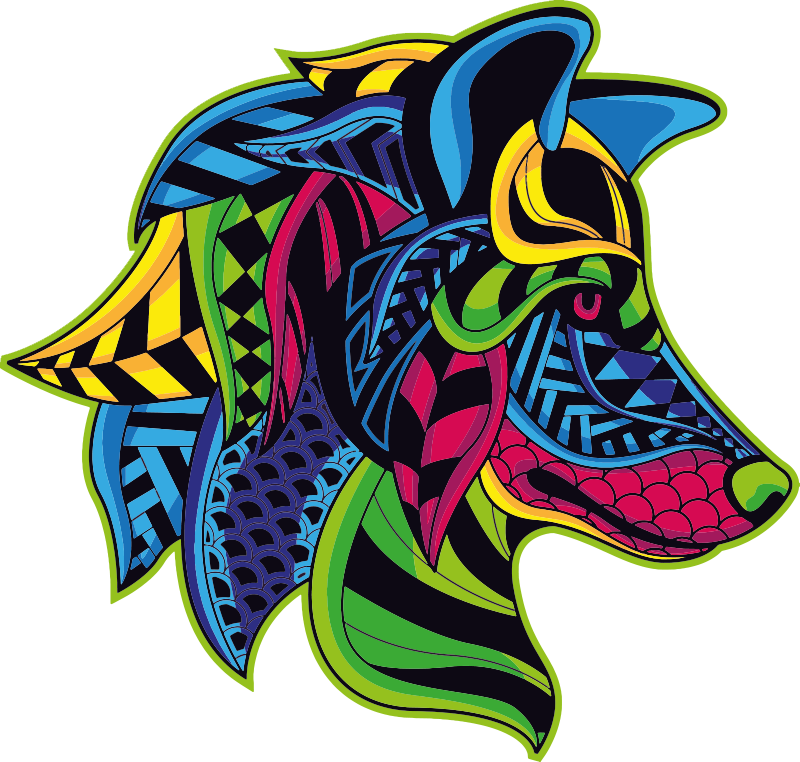 TenStickers. Wolf mandala  wild animal sticker. Decorative home wall decal with the design of a wolf head in an amazing colorful style. Choose it in the best suitable size.