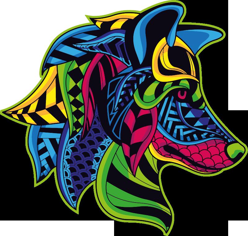 TenVinilo. Vinilo decorativo lobo mandala animal salvaje. Vinilo decorativo para tu casa con el diseño de una cabeza de lobo en un sorprendente estilo colorido ¡Elige el tamaño que desees!