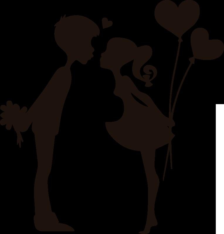 TenStickers. Stickers muraux jeune couple s'embrassant. Amour stickers muraux à la maison avec la conception de la silhouette de deux baisers adolescents. L'acheter dans l'une des couleurs et tailles optionnelles.