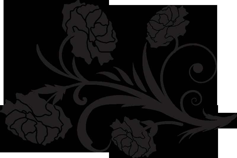TenStickers. 카네이션 실루엣 꽃 벽 데칼. 거실 장식 카네이션 꽃 식물 실루엣 벽 스티커. 다양한 색상과 크기로 제공됩니다. 적용하기 쉽습니다.